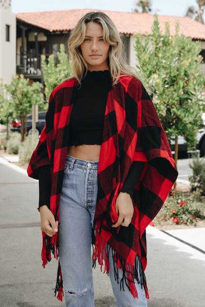 On The Square Buffalo Plaid Poncho - Red