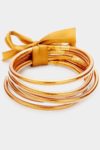 Glitter Girl Jelly Bangle Set -  Dark Gold