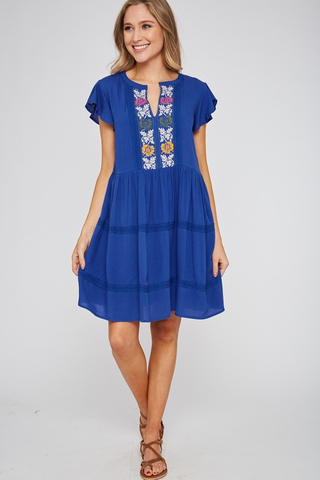 Party On The Patio Embroidered Ruffled Dress