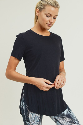 Short Sleeve Tulip Top - Black