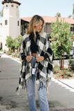 On The Square Buffalo Plaid Poncho - Black