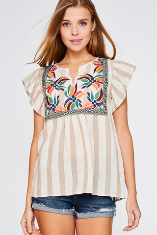 Passport To Paradise Embroidered Top