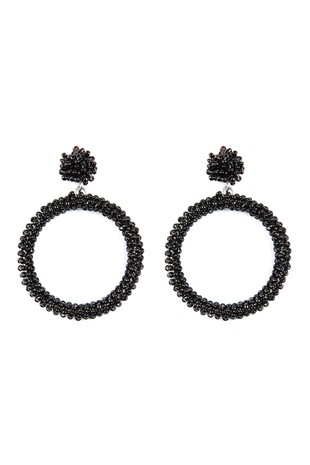 Seed bead drop hoop earrings