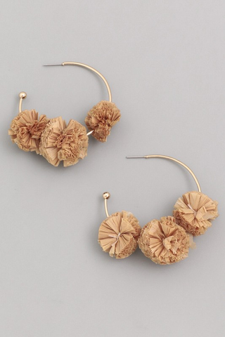 Raffia Pom Hoop Earrings - Taupe