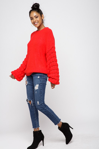 Make A Statement Bubble Sleeve Sweater- Red
