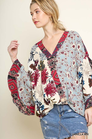 Botanical Babe Multi-Floral Mix Print Top