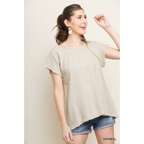 Uptown Chic Linen Top - Oatmeal