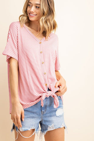 Sweet N Simple Stripe Top With Front Tie