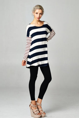 Navy Stripe With Red Arm Tunic Top