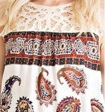 Paisley And Lace Sleeveless Top