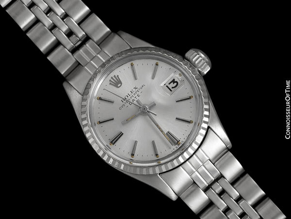 1961 Rolex Classic Vintage Ladies Date Datejust Watch, Silver Dial - Stainless Steel and 18K White Gold
