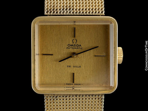 "1973 Omega De Ville Mens Ladies Unisex ""Emerald"" Modern Watch By Andrew Grima - 18K Gold Plated and Stainless Steel"