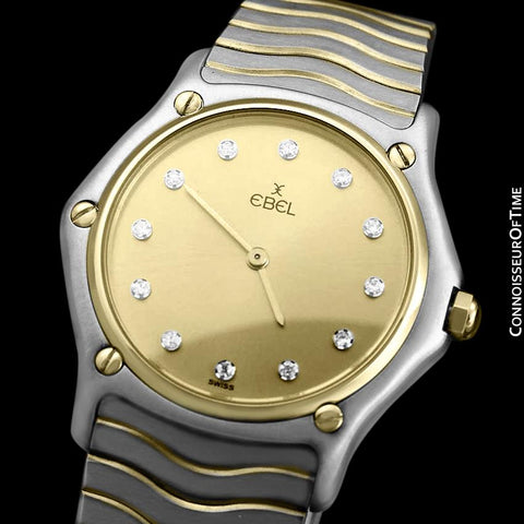 Ebel Classic Wave Unisex Mens Midsize Bracelet Watch - Stainless Steel, 18K Gold and Factory Ebel Diamonds