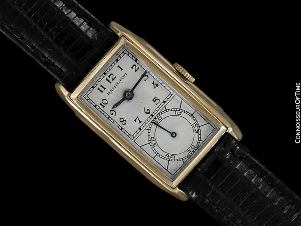 1936 Hamilton Seckron Vintage Duo Dial 14K Gold Filled Mens Watch - Doctor's Watch