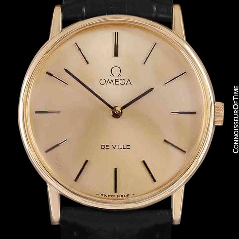 1980 Omega De Ville Vintage Mens Midsize Ultra Thin Dress Watch - 18K Gold Plated and Stainless Steel
