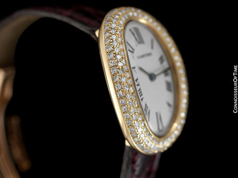 Cartier Baignoire Joaillerie 1954 Ladies / Unisex Size Watch - 18K Gold with Cartier Factory Diamonds