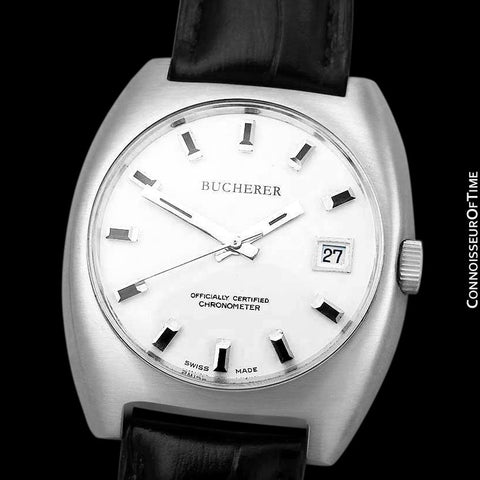 1970's Bucherer (Carl F. Bucherer) Large Vintage Mens Officially Certified Chronometer Watch - Stainless Steel