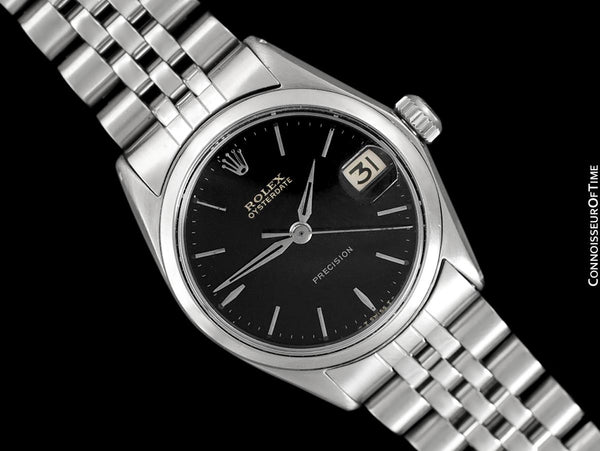 1966 Rolex Vintage Midsize Unisex 30mm Oysterdate Precision Ref. 6466 Date Watch - Stainless Steel