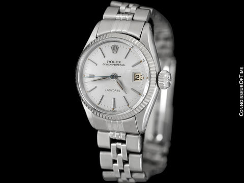 1961 Rolex Classic Vintage Ladydate Ladies Date (Datejust) Watch, Silver Dial - Stainless Steel and 18K White Gold