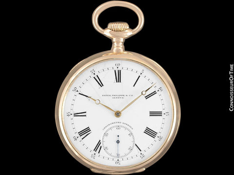 c. 1915 Patek Philippe Chronometro Gondolo Vintage / Antique Mens 51mm Pocket Watch - 18K Rose Gold