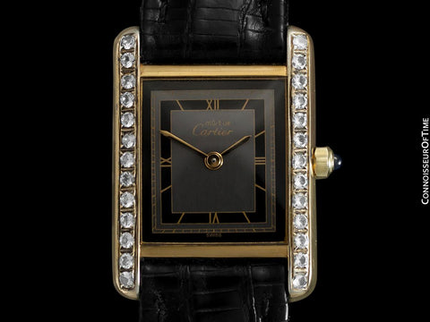 Cartier Ladies Tank Watch - Gold Vermeil, 18K Gold over Sterling Silver with Diamond Style CZ's