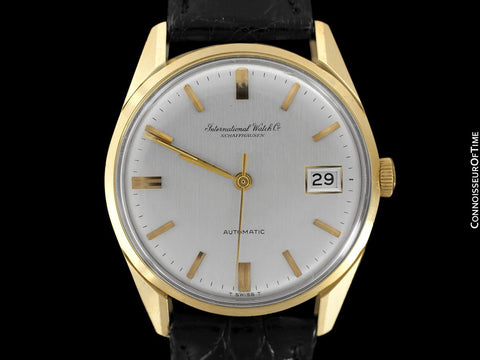 1966 IWC Vintage Mens Automatic Full Size Watch, Silver Dial with Date, 18K Gold - Near New Old Stock