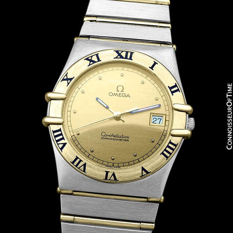 Omega Constellation Mens Watch, Quartz, Date, 35mm - Brushed Stainless Steel and 18K Gold