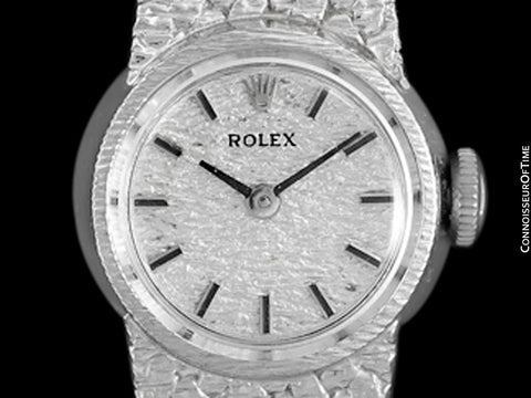 1970's Rolex Ladies Vintage Dress Bracelet Watch - 14K White Gold