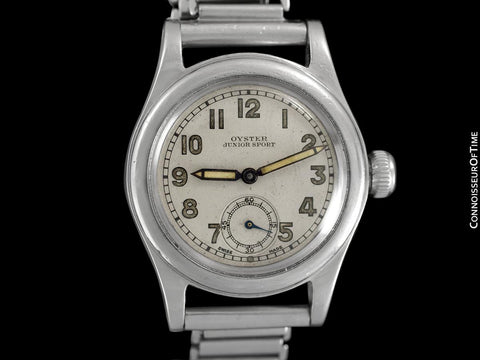 "1939 Rolex Oyster Junior Sport Vintage Mens ""Boys"" Military Style Watch - Stainless Steel"