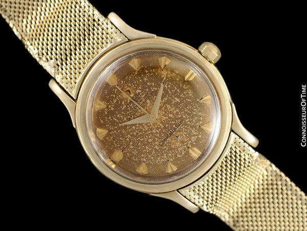"1954 Omega Vintage ""De Luxe"" Constellation with Bracelet - Tropical Dial - 14K Gold with Box"