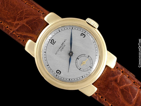 1930's Patek Philippe Vintage Art Deco Mens Small Midsize Handwound Watch - 18K Gold