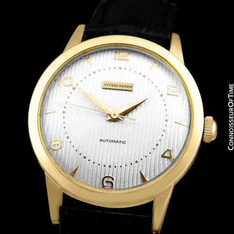 1950's Ulysse Nardin Vintage Mens Automatic Tuxedo Dial Watch - 18K Gold Plated and Stainless Steel