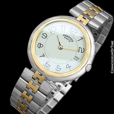 Hermes Profile Unisex Mens Midsize Watch with Bracelet - 18K Gold Plated & Stainless Steel
