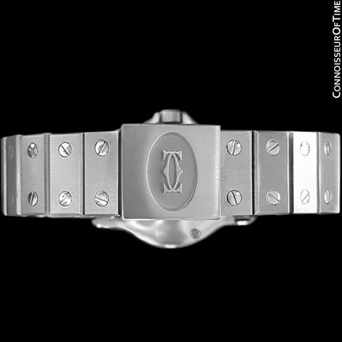 Cartier Santos Octagon Mens Midsize Watch, Automatic - Stainless Steel & Diamonds