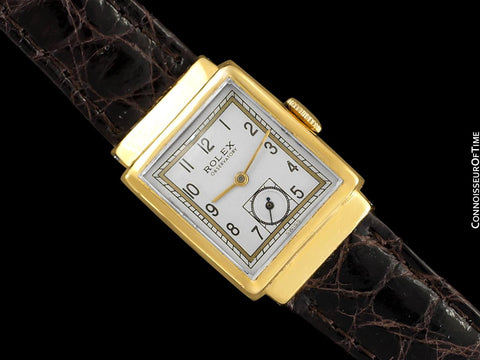 1930's Rolex Observatory Art Deco Vintage Mens Midsize Unisex Watch with Hooded Lugs - 18K Gold Plated