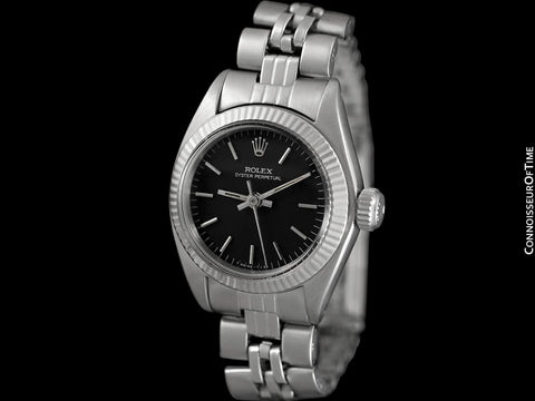 1974 Rolex Vintage Ladies Oyster Perpetual Black Dial Ref. 6719 Watch - Stainless Steel & 18K White Gold