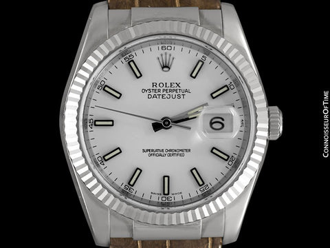 Rolex Datejust Mens 18K White Gold 116139 Watch, $20,500 - Brand New & Unworn