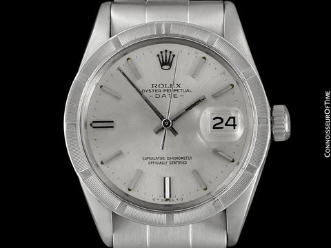 1973 Rolex Date (Datejust) Vintage Mens Watch with Silver Dial - Stainless Steel