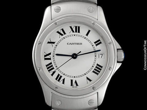 Cartier Santos Ronde Mens Unisex Bracelet Watch - Stainless Steel