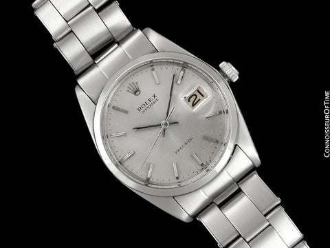 1969 Rolex Vintage Mens Oysterdate Date Watch, Silver Dial - Stainless Steel