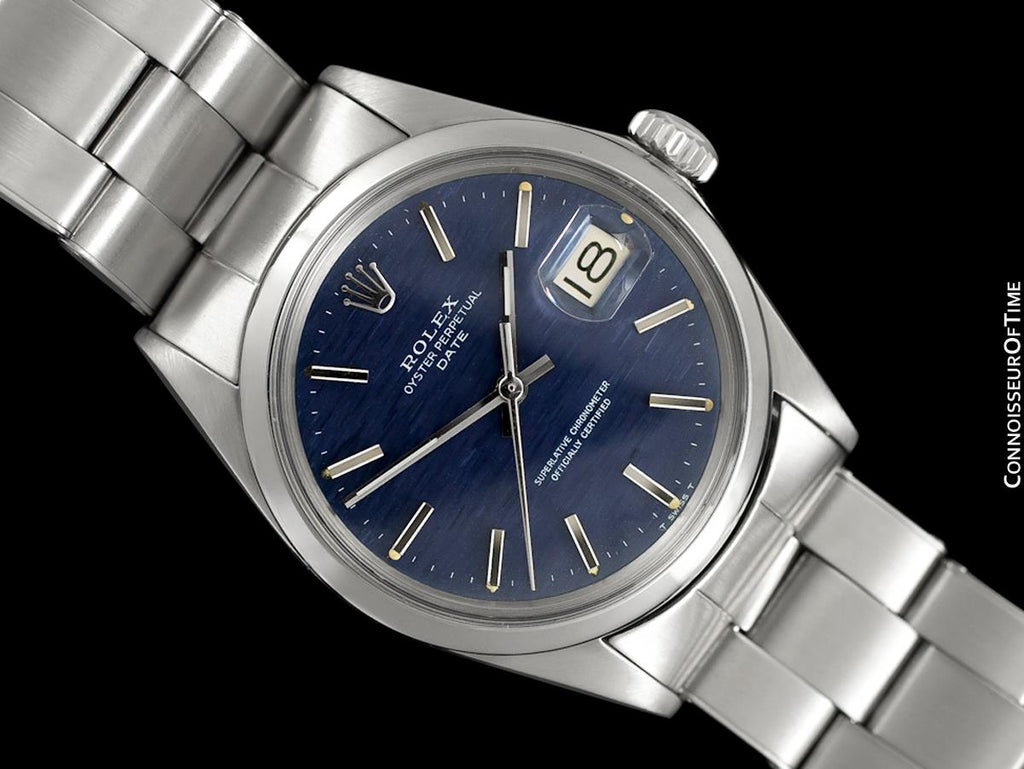 1970 Rolex Date (Datejust) Classic Vintage Mens Watch with Blue Textured  Dial , Stainless Steel
