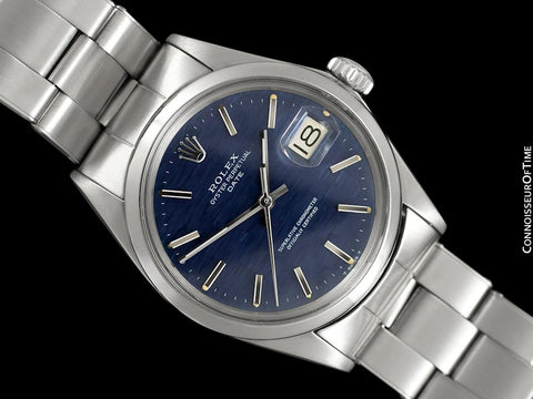 1970 Rolex Date (Datejust) Classic Vintage Mens Watch with Blue Textured Dial - Stainless Steel