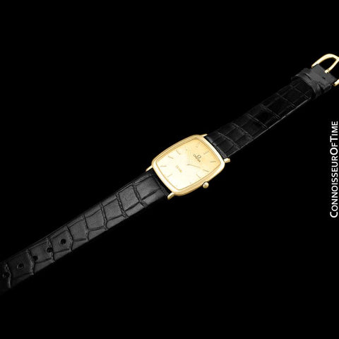 1980's Omega De Ville Vintage Mens Unisex Ultra Thin Dress Watch - 18K Gold Plated and Stainless Steel