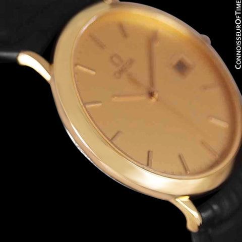 1980's Omega De Ville Mens Vintage Midsize Ultra Thin Watch - 18K Gold Plated and Stainless Steel