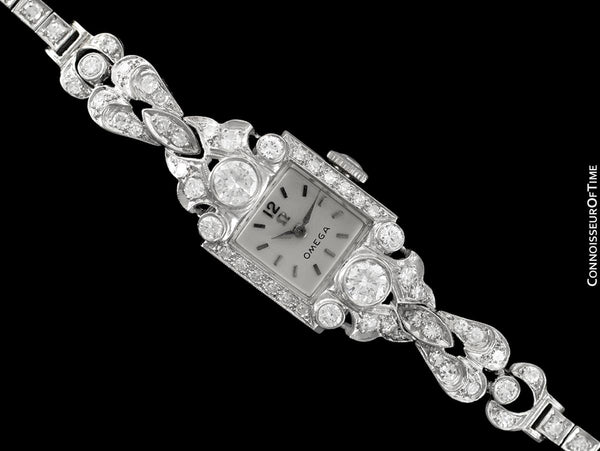 c. 1954 Vintage Ladies Watch with Omega Movement - Platinum with Over 2 Carats of Diamonds