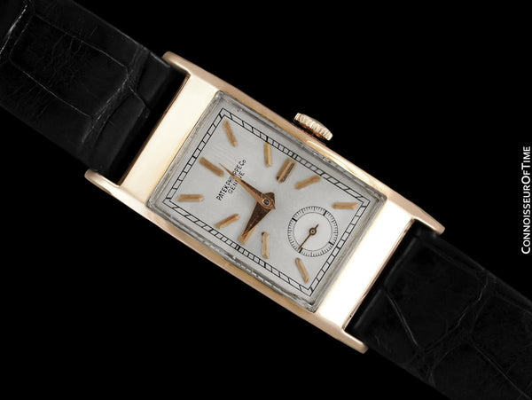"1939 Patek Philippe ""Tegolino"" Vintage Mens Rectangular Watch - 18K Rose Gold"