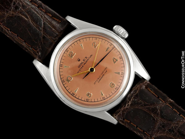 1948 Rolex Vintage Mens WWII Era Rounded Bubbleback, Ref. 5010, Stainless Steel - Very Fine & Rare