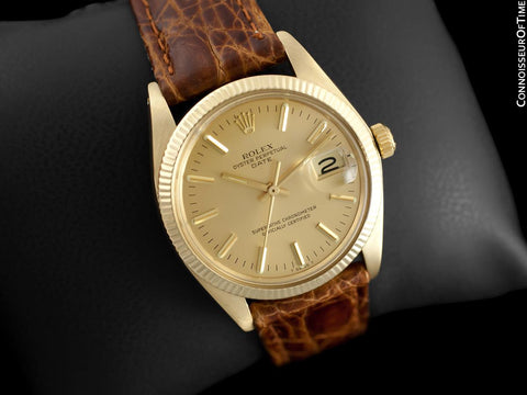 1979 Rolex Oyster perpetual Date (Datejust) Mens Watch, Champagne Dial - 14K Gold