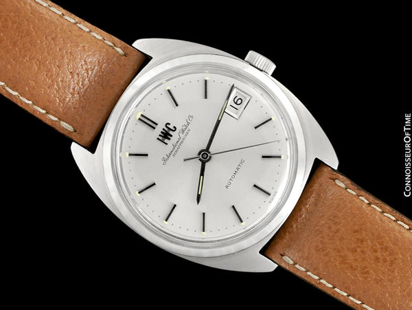 1978 IWC Vintage Mens Automatic Watch, Silver Dial with Date, Stainless Steel - Like New Old Stock