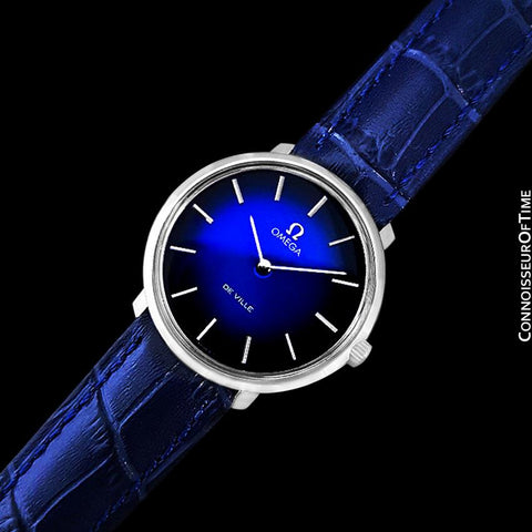 1974 Omega De Ville Vintage Mens Handwound Blue Vignette Dial Watch - Stainless Steel